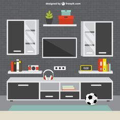 Modern living room furniture Free Vector