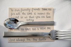 Give each of your guests a pretty note at their place setting to tell them how special they are to you. Don't worry if it is too windy, your flatware will keep the note in place! Wedding Notes, Wedding Day, Spring Wedding Inspiration, Pretty Notes, Sweet Couple, Place Setting, Wedding Locations, Have A Great Day, Celebrity Weddings