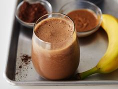 This delicious breakfast beverage is a super creamy blend of banana and almond butter.