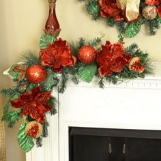 Glistening Red Magnolia Christmas Swag or Garland CR1521 - Decorate your mantel with our festive flexible red magnolia Christmas Swag.  These can be placed straight or curved down the center of your dining room table  with ribbon or used with Christmas greenery. We also offer this item adorned with ribbon. Our beautiful red magnolia Christmas swag is created with pine, green glittered leaves, glisening  red wired magnolias, and red ornaments and gold pomegranates.