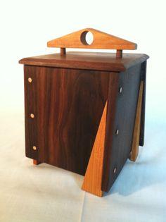 "Wooden box Original design functional art by WildatHeartWood, $125.00 6 1/2"" x 6 1/2"" x 10""h"
