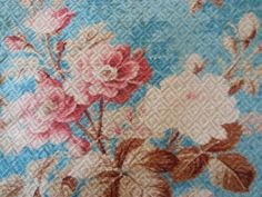 Antique Shabby French Faded Roses fabric~ robin's egg  blue soft pink ~ gorgeous