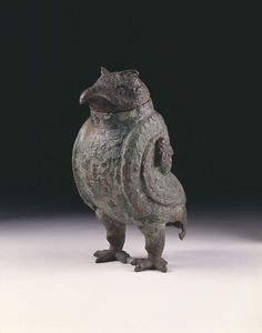 Bronze vessel in the form of an owl, China, Shang-dynasty, 1200 BC-1100 BC | Victoria & Albert Museum