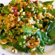 spinach, apricot and bulghur wheat salad
