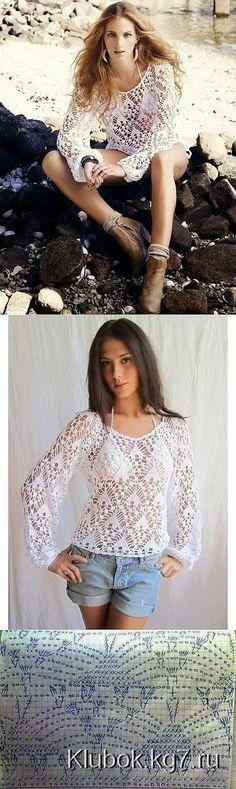 Blusa de dama con precioso punto | Crochet y Dos agujas