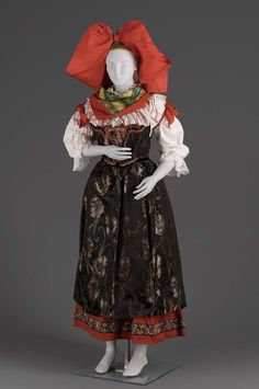 Woman's costume in ten parts, 1920's, Alsace, France.
