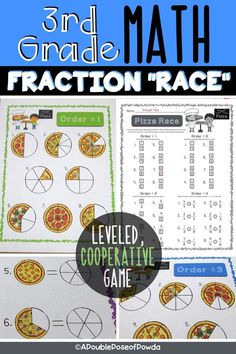 Fun, no-prep game to teach students fractions with pizza! A collaborative learning activity for real-world problem solving to identify, make equivalent, and compare fractions. Children play independently or in pairs or small groups to solve problems that are varying in difficulty. Kids race to be the first group to complete all levels on their recording sheet. A great worksheet alternative! Product meets 3rd grade math common core standards 3.NF.A.1, 3.NF.A.3, 3.NF.A.3a, 3.NF.A.3b, 3.NF.A.3d Problem Solving Activities, Fraction Activities, Math Activities, Math Games, Teaching Resources, 3rd Grade Words, 3rd Grade Math, Third Grade, Teaching Fractions