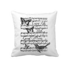 Music Butterflies and Birds Throw Pillows