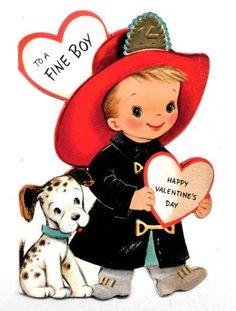 Vintage Valentine Card Fireman and Dalmation