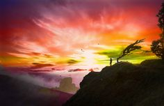 Sunset, Cliff, Red, Rock, Sky, Nature, Look, Passion