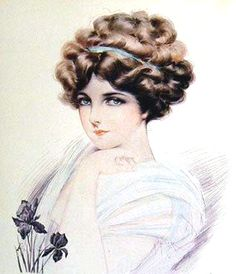 The Gibson Girl was known as the century's first pin up.  First sketched by Charles Dana Gibson in 1902, this imaginary woman was to represent the ideal woman.  She  became known as the liberated young woman with the characteristic upswept hairdo.  Created using a combination  of the Marcel wave and postiche, the Gibson Girl look was to last a quarter of a century.