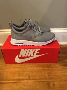 new product de357 8aa7b Womens Nike Air Max Thea Premium Stealth Grey Platinum White SZ 8.5 (616723-009)   fashion  clothing  shoes  accessories  womensshoes  athleticshoes (ebay ...