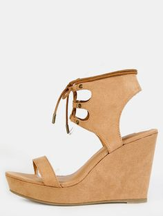 e4f07167001 Open Toe Ankle Cuff Wedges NATURAL Cute Wedges