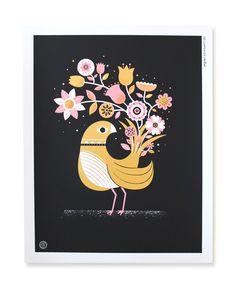 Black Bouquet print: Bird by Tad Carpenter Creative