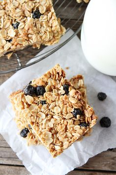 Blueberry Coconut Granola Bars Recipe on twopeasandtheirpod.com SO much better than store bought!