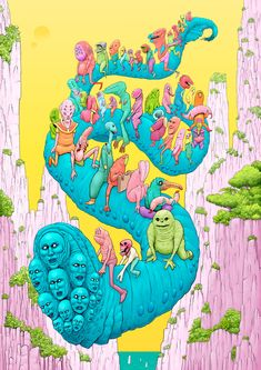 New Zealander Tim Molloy crafts strange worlds in his illustrations, comics, and commercial work. Recalling artists like Moebius and Jim Woodring, Molloy's rich, detailed pieces are packed wi… Character Illustration, Illustration Art, Psychadelic Art, Scary Art, Bizarre, Lowbrow Art, Hippie Art, Wow Art, Diy Canvas Art