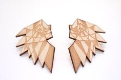 Mori Collective's jewelry is made from birch ply wood, and laser cut and assembled in Helsinki. Made in Finland.Color: WoodSize:Height of the bird is 4 cm. Birch Ply, Bird Earrings, Finland, Sustainable Fashion, My Design, Texture, Wood, How To Make, Crafts