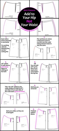 Skirt Pattern: Add to Your Hip, Not Your Waist infographic & Video katrinakaycreations.com
