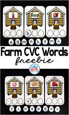 Farms Build a Word is perfect way to have students practice making words in a fun, hands-on literacy center. This free printable is perfect for preschool, kindergarten, and even first grade. It is a great addition during a farm theme or unit. via @dabofgluewilldo