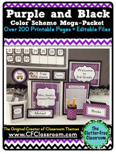 PURPLE & BLACK MODERN PATTERNS CLASSROOM COLOR SCHEME - A collection of over 32 different all-inclusive classroom decor & essentials bundles that come in a variety of colors & patterns (including chevron / polka dots). It includes photos/images to help & inspire you to create an organized, colorful, beautiful classroom using affordable printables. :) Jodi from The Clutter-Free Classroom www.CFClassroom.com