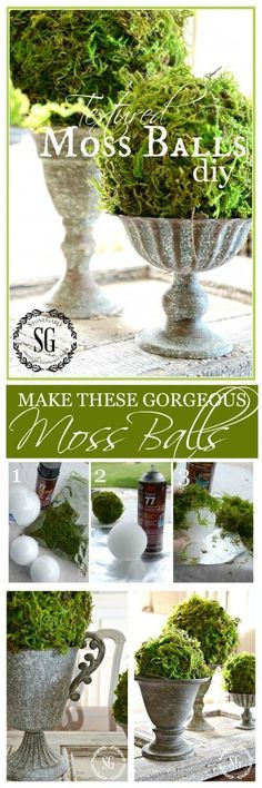 Make your own beautiful moss balls. So much better than store bought! Make your own beautiful moss balls. So much better than store bought! Make your own beautiful moss balls. So much better than store bought! Diy Projects To Try, Craft Projects, Craft Ideas, Deco Floral, Dollar Tree Crafts, Diy Décoration, Easy Diy, Home And Deco, Ikebana