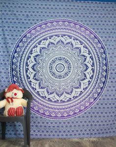 Ombre Indian Mandala Tapestry Hippie Tapestry Wall Hanging Bedspread  #Handmade #BedspreadTapestry Indian Mandala, Mandala Tapestry, Tapestry Wall Hanging, Bedspread, Beach Mat, Outdoor Blanket, Handmade, Home Decor, Tapestry