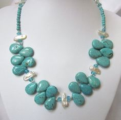 Turquoise Necklace - FreshWater White Biwa / Keshi Stick Pearls and Turquoise Blue (Howlite) Necklace Trendy Turquoise Necklace - FreshWater White Biwa / Keshi Stick Pearls and Turquoise Blue (Howlite) Diy Necklace Patterns, Beaded Jewelry Patterns, Fabric Jewelry, Diy Jewelry Projects, Jewelry Crafts, Jewelry Necklaces, Beaded Necklace, Turquoise Jewelry, Handcrafted Jewelry