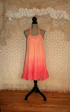Halter Dress Summer Dress Hippie Boho Dress Cotton Dress Spring Dress Ombre Tie Dye Dress Beach Dress Cover Up Size Large Women Clothing