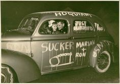 """Funny Vintage Photographs of """"Just Married"""" Wedding Cars From the Past"""