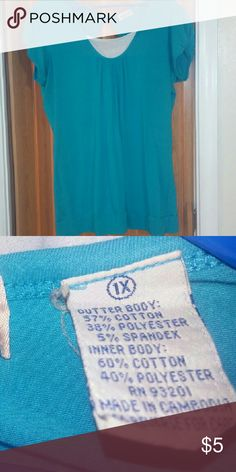 Woman's Top *EUC* 1X short sleeved top, stretchy material, turquoise and white MKM Designs Tops Blouses