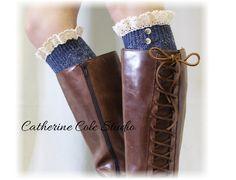 Lace boot sock, Ruffle lace socks, tall socks, Alpine, tweed, lace sock, NORDIC vintage blues tall Lace boot Socks   BKS2BL