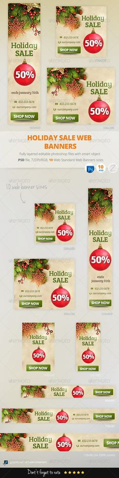 Holiday Sale Web Banners Template PSD | Buy and Download: http://graphicriver.net/item/holiday-sale-web-banners/6251861?WT.ac=category_thumb&WT.z_author=zokamaric&ref=ksioks