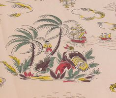 Vintage Pirates themed fabric by fibremelange on Etsy, $15.00