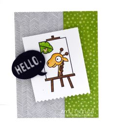 Hello card by Amy Tsuruta - Paper Smooches - Zoo Crew, I Heart Art