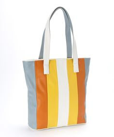 Women Multi Color Stripes Oversize Tote Handbag