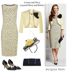 Jacques Vert lemon and navy spot print layered dress and matching jacket - Two piece occasion outfits for Mother of the Bride Mother of the Groom and wedding guest