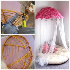 Turn a papasan frame into a canopy reading nook for kids! {Sawdust & Embryos}