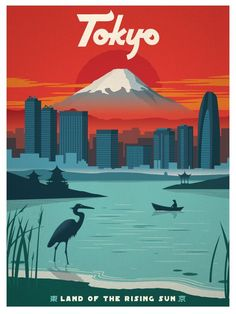 The Travel Tester vintage travel poster collection. It's time to get nostalgic with this week's retro showcase: Vintage Travel Posters Japan. Vintage Travel Posters, Vintage Postcards, City Poster, Anime Body, Anime Pokemon, Tourism Poster, Kunst Poster, Travel Illustration, Grafik Design