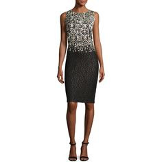 St. John Collection Metallic Pixelated Jacquard Pencil Dress (59,835 PHP) ❤ liked on Polyvore featuring dresses, boatneck sheath dress, bateau neckline dress, jacquard sheath dress, sleeveless pencil dress and sleeveless boatneck dress