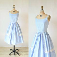 f902030a89d1 1950s Blue Sun Dress Vintage Cotton Day Dress by DalenaVintage, $120.00 Vintage  Summer Dresses,
