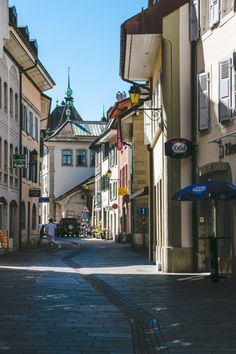 The cozy streets of the lakeside village of Lausanne, Switzerland - 40 minutes from Geneva.
