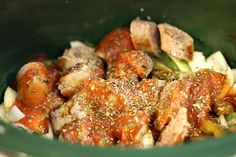 Easy Chicken Crockpot Recipe: Chicken Sausage and Peppers 3