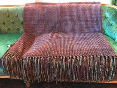 """RARE Textillery Weaver's """"ROSE"""" Hand Woven Purple & Green Tweed Rayon Chenille Throw Blanket w/Hand Knotted Fringe by BohoTresChic on Etsy"""