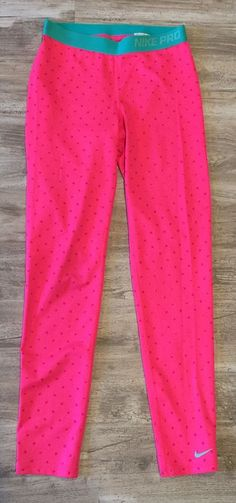 NIKE Pro Training Legging Tight Pants Size Girls XL Dri-Fit Pink Aqua Running  | eBay