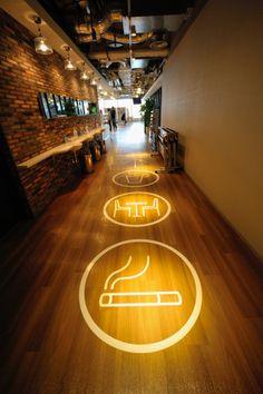 Modern LED Light Fittings and Its Advantages Wayfinding Signage, Signage Design, Led Light Fittings, Floor Design, House Design, Environmental Design, Living Room Lighting, Commercial Interiors, Restaurant Design