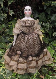 """Beautiful Victorian Antique Flat Top China Head Doll 12"""" - Germany"""