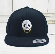 4909007e4db Panda Gold Chains Flat Bill Snapback Embroidered Yupoong Brand Baseball Cap
