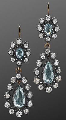 Antique Diamond and Aquamarine Pendant Earrings, circa 1890 - via Fred Leighton #AquamarineEarrings