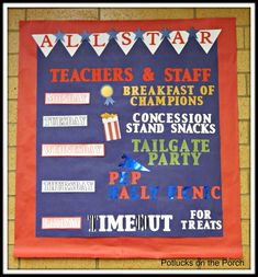 Potlucks on the Porch: Teacher Appreciation Week: All- Star Teachers.You can find Teacher appreciation week an. Teacher Lunches, Teacher Treats, Teacher Gifts, Teacher Stuff, Classroom Treats, Classroom Setup, Teacher Appreciation Luncheon, Volunteer Appreciation, Teacher Appreciation Week Schedule