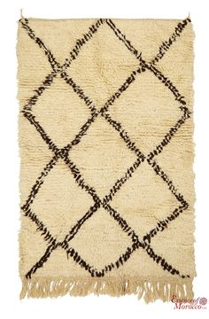 Beni Ourain Rug Vintage. Moroccan Pure Wool . Hand-knotted Handmade in Morocco Genuine and Authentic. 149 cm x 101 cm (BOS1)